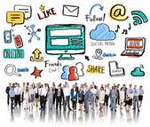 Gente de negocios con el concepto de las redes sociales — Foto de Stock