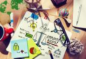 Messy office desk with Employee Rights — Stock Photo