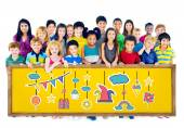 Fun Concept with Group of Multiethnic Children — Stock Photo