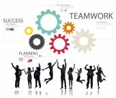 Business people under icons with Teamwork — Stock Photo