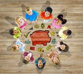 Multiethnic Group of Children with Saving Concept — Stock Photo
