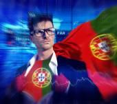 Empresario superhéroe país Portugal bandera cultura poder Concep — Foto de Stock