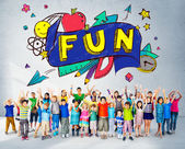 Fun Education Concept with Group of Children — Stock Photo