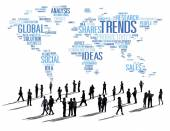 People under World Map with Trends Concept — Stockfoto