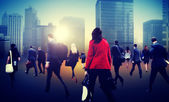 People Walking in Business District — Stock Photo