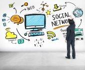 Έννοια κοινωνικό δίκτυο — Φωτογραφία Αρχείου