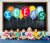 Ideas Concept with Group of Multiethnic Children — Stock Photo