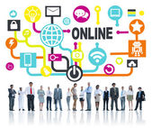 People below Social Networking Concept — Stock Photo