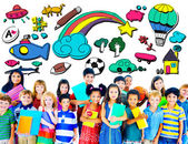 Hobby Concept with Group of Multiethnic Children — Stock Photo