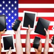 Hands with Digital Devices on USA — Stock Photo #71581193