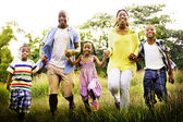 African American family relaxes on the nature — Stock Photo