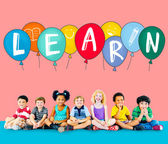 Education Concept with Group of Multiethnic Children — Stock Photo