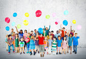 Group of Multiethnic Children with Balloons — Stock Photo