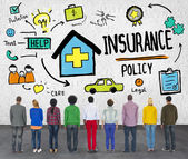 Diverse people and Insurance Policy — Stock Photo