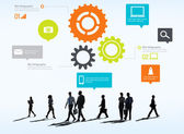 Business people under icons with Teamwork Concept — Stock Photo