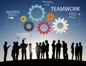 Ludzie biznesu w obszarze ikony z koncepcją pracy zespołowej — Zdjęcie stockowe