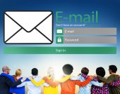 Diverse people and Email — Stock Photo