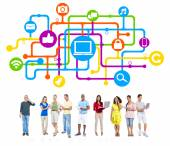 Group of People and Internet Concepts — Stock Photo