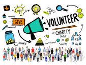 Gente diversa y concepto de la caridad voluntariado — Foto de Stock