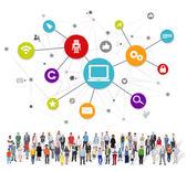 People with Social Media Symbols — Stock Photo