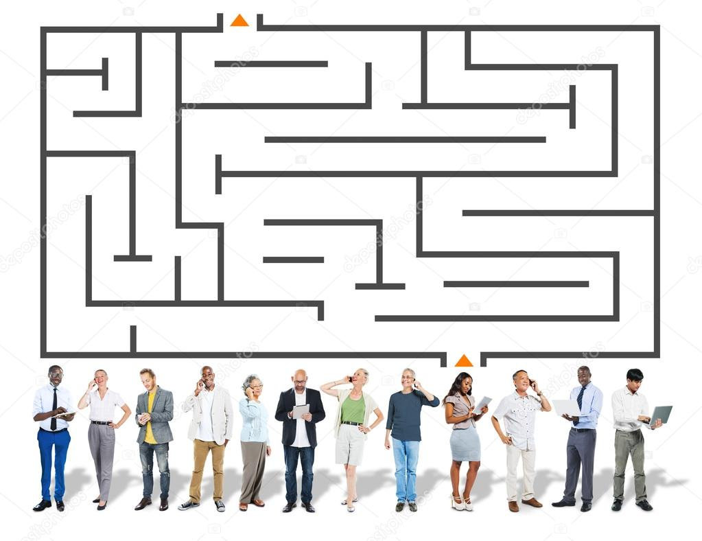 Stock Photo Maze Directions Business People Solution on File Maze Type Standard