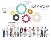 Praca zespołowa, Grupa narzędzi, partnerstwa i współpracy — Zdjęcie stockowe