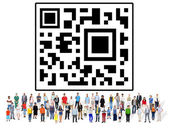 Diverse people and QR code — Stock Photo
