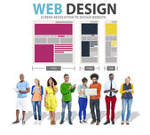 Diverse people and Web Design — Stock Photo