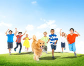 Elementary Age Children with Dog — Foto Stock