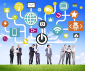 Business people using Global Communications Social Networking — Stock Photo