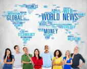 Group of people thinking and World News — Stock Photo