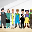 Group of children in various professions — Stock Photo #71627365