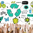 Diverse hands and Recycle Concept — Stock Photo #71629719