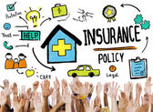 Diverse hands and Insurance Policy — Stock Photo