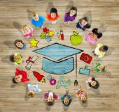 Multi ethnic Group of Children with Education Concept — Stock Photo