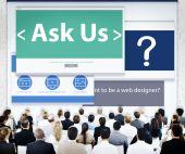 Business People at Ask Us Seminar — Stock Photo
