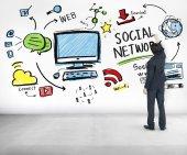 ソーシャル ネットワーク、ソーシャル メディア、アイデアの概念 — ストック写真