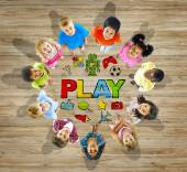 Multi ethnic Group of Children with Play Concept — Stock Photo