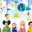 Group of Multiethnic children with signs — Stock Photo #71630777