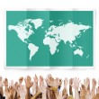 Diverse hands and World Global Business — Stock Photo #71630071