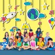 Group of Multiethnic children with signs — Stock Photo #71630247