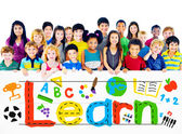 Learn concept with group of children — Stock Photo