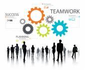 Praca zespołowa, Groupof przekładni, partnerstwa i współpracy — Zdjęcie stockowe