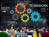Pracy zespołowej zespół Grupa narzędzi współpracy koncepcja partnerstwa — Zdjęcie stockowe