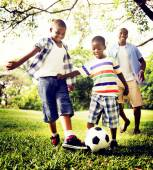 Happy African Family playing with a ball — Stock Photo