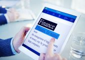 Man using tablet with Finance Concept — Stock Photo