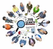 形形色色的人和工作搜索的概念 — 图库照片