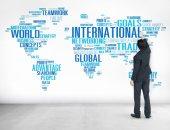 Businessman and International World Global Network — Stock Photo
