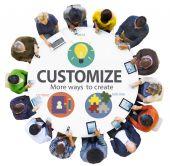 Customize Ideas Identity Individuality Innovation Personalize — Stock Photo
