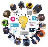 Ideeën inspiratie creativiteit biz infographic innovatieconcept — Stockfoto